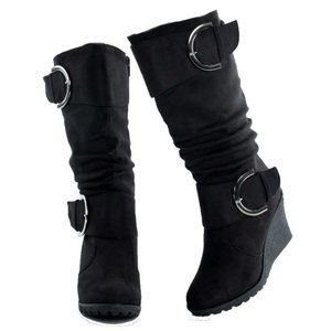 Womens Large Buckle Slouch Mid Calf Wedge Boots